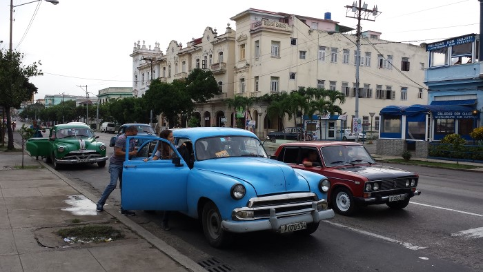 One of the best experiences to be had in Havana is taking a taxi colectivo (shared taxi), about 30 cents a ride and always in a vintage American car. Photo: Geneva Anderson