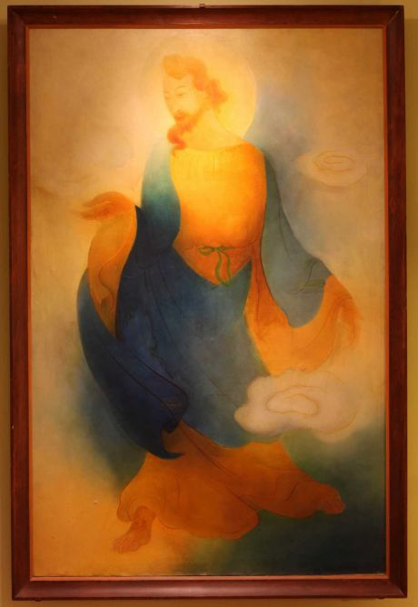 """Tyrus Wong's """"Chinese Jesus,"""" 85 x 75 inches, will be on display to the public for one day only─Thursday, March 10─ at the Asian Art Museum. Tyrus Wong painted the long unidentified artwork for the Chinese Congregational Church in Los Angeles decades ago. The unsigned painting was found in the attic of the Chinese Methodist Church in San Francisco by CAAM board member David Lee. The artwork is in need of restoration and David Lee is mounting a fund-raising campaign to clean and restore it to its original state. The artwork will then be placed in a Bay Area museum. Image: CAAM"""