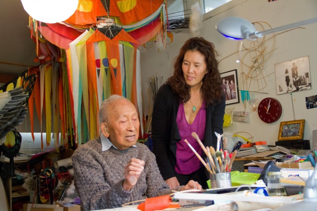 """Documentary filmmaker Pamela Tom and Tyrus Wong in 2012. Set against a backdrop of immigration, poverty, and racial prejudice, Pamela Tom's """"Tyrus"""" tells the life story of 105-year-old Chinese American artist Tyrus Wong. Reaching back to 1919, nine-year-old Tyrus and his father leave their village and family in China. Tyrus's journey takes him from the Angel Island Immigration Station in San Francisco, where he is detained and interrogated, to earning a scholarship to Otis Art Institute. During his 85-year career as a fine and commercial artist, Tyrus crosses paths with Picasso and Matisse, Walt Disney and Warner Bros. Although his design work was crucial to the animated classic """"Bambi"""" and over 100 live-action movies including """"The Music Man,"""" """"Rebel Without a Cause"""" and """"The Wild Bunch,"""" the name Tyrus Wong remains largely unknown. """"Tyrus"""" screens once at CAAMFest 2016 but has secured distributorship and will open later at the theatres in the Bay Area. Image: courtesy CAAM"""