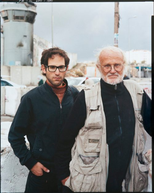 Director Gilad Baram and photographer Josef Koudelka, Qalandia Checkpoint, the main checkpoint between the northern West Bank and Jerusalem. © Frédéric Brenner