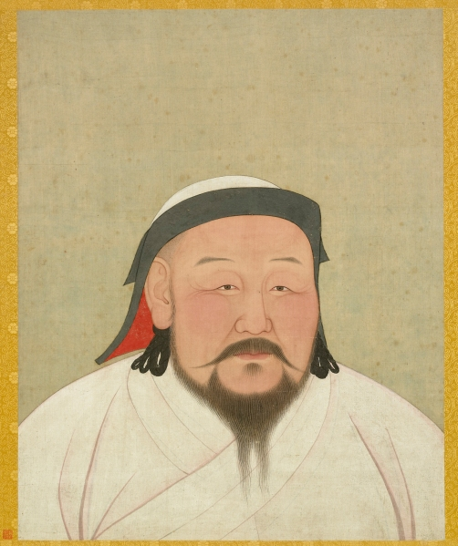Portrait of Kublai Khan as the First Yuan Emperor, Shizu. Yuan dynasty. Album leaf, ink and color on silk, H 59.4 cm x W 47 cm. National Palace Museum. Photograph © National Palace Museum, Taipei.