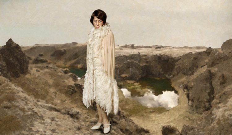 Cindy Sherman, Untitled #512, 2010/2011. The image is based on an insert Sherman did for the lifestyle magazine, Garage, using clothes from Chanel's early haute couture archives. The clothing was paired images Sherman shot in Iceland during a 2010 volcanic eruption. Rather than staging scenes in her studio or using projected images, the dramatic settings were all photographed by Sherman and then manipulated in Photoshop to achieve a painterly effect. Chromogenic color print, 79 ¾ x 136 7/8 inches, courtesy of Cindy Sherman and Metro Pictures.