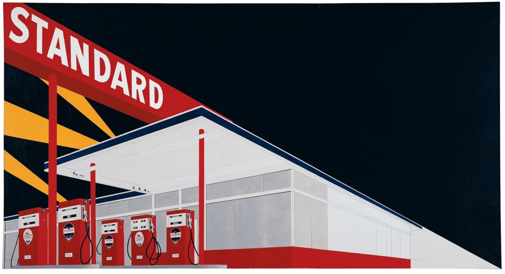 """Ed Ruscha, """"Standard Station, Amarillo, Texas,"""" 1963. Oil on canvas, 64 7/8 x 121 3/4 inches, Hood Museum of Art, Dartmouth College."""