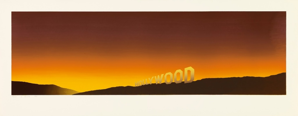 """Ed Ruscha, """"Hollywood,"""" 1968, color screenprint, 171/2 x 44 7/16 inches, published by the artist, FAMSF © Ed Ruscha"""