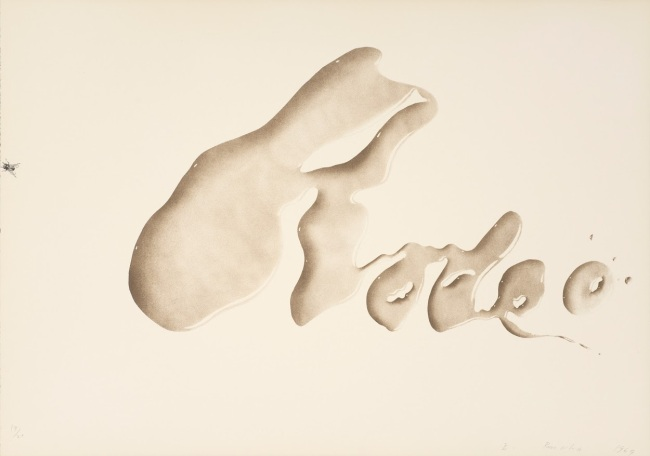 """Rodeo,"" 1969. Color lithograph, 17 x 24 in. Published by Tamarind Lithography Workshop, Los Angeles. FAMSF © Ed Ruscha"