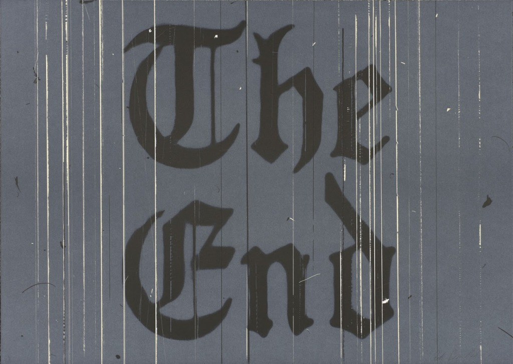 """""""The End, 1991,"""" Lithograph, 26 3/16 x 36 13/16 in. Published by the artist. FAMSF © Ed Ruscha"""
