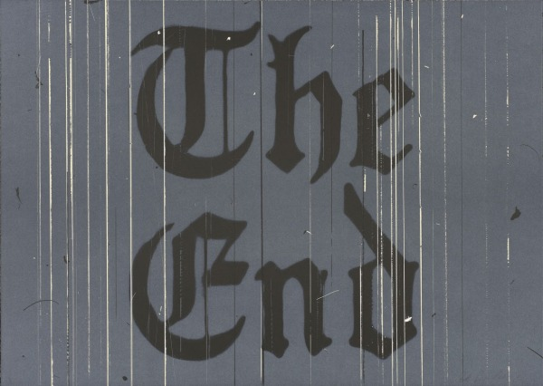 """The End, 1991,"" Lithograph, 26 3/16 x 36 13/16 in. Published by the artist. FAMSF © Ed Ruscha"