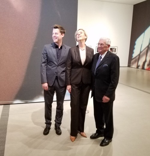 "Phillip Kaiser, guest curator, Joanne Heyler, director of The Broad, and philanthropist Eli Broad at the June 8, 2016 press opening of the museum's first special exhibit, ""Cindy Sherman: Imitation of Life."" Photo: Geneva Anderson"